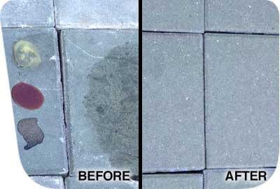 Before and after using a concrete sealer remover