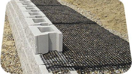 Biaxial Geogrid behind retaining wall