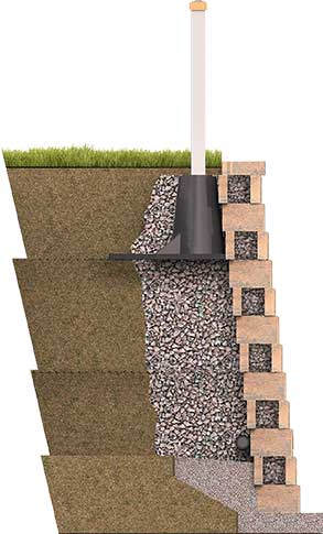 sleeve-it unit installed on retaining wall side view