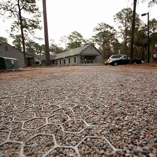 Gravel Grid provides stability and protection for gravel parking lots and driveways